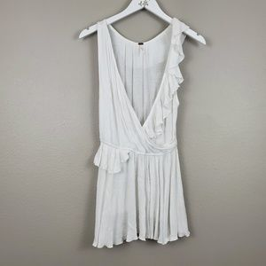 FREE PEOPLE LINEN BLEND RUFFLED TUNIC TOP